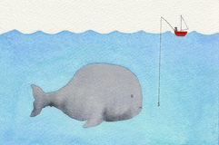 Whale and a fisherman. Watercolor illustration showing a huge whale swimming underwater and a single fisherman in a small red boat vector illustration