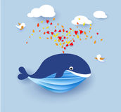 Whale flying on blue sky background. Vector illustration. Paper cut and craft style Stock Photos