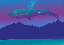 Whale flying over mountains. Whale flying in the sky Royalty Free Stock Photography