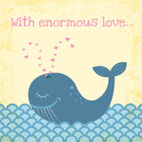 Whale. Funny happy whale illustration with grunge effect Royalty Free Stock Images