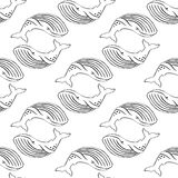 Whale hand-drawn black ink. Stock Images