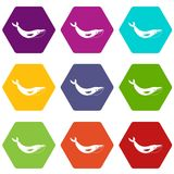 Whale icon set color hexahedron. Whale icon set many color hexahedron isolated on white vector illustration Stock Photo