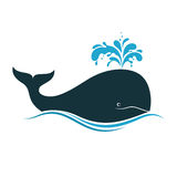 Whale. Icon with water fountain blow Royalty Free Stock Images