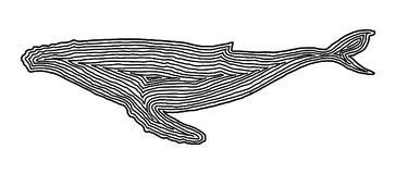 A whale illustration icon in black offset line. Fingerprint styl. E for logo or background design Royalty Free Stock Images