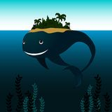 Whale with Island on his Back Royalty Free Stock Photo