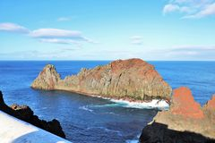 Whale islet. Photo of islet in rock with whale format, on Graciosa insland, Azores stock image