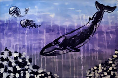 Whale, jellyfish under water (aquarelle and gouache) Royalty Free Stock Photos