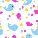 Whale kid seamless vector pattern for textile print. Stock Photo