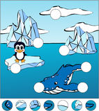 Whale killer and penguin on an ice floe. Complete the puzzle and Royalty Free Stock Images