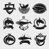 Whale label and icons set. Vector Stock Image