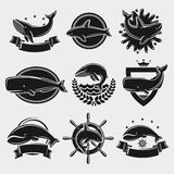 Whale label and icons set. Vector Stock Photo