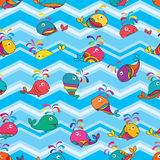 Whale makeup pattern fish colorful sticker Chevron seamless pattern. This illustration is design abstract whale swimming with Chevron blue color in seamless Stock Image