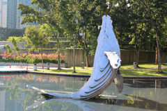 Whale model in city garden Stock Photography