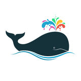 Whale with multicolored blow spout Royalty Free Stock Photo
