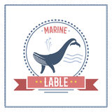 Whale nautical and marine sailing themed label vector. Stock Photography
