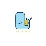 Whale with negative space beer mug vector design Stock Photo