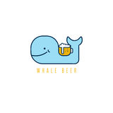 Whale with negative space beer mug vector design Stock Images