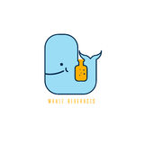 Whale with negative space bottle vector design Stock Photography