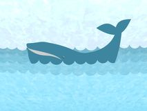Whale in the ocean. Illustration of a Baleen whale Stock Photography