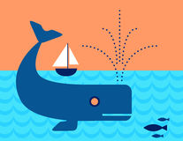 Whale in the ocean swimming under a Sailboat Royalty Free Stock Photography