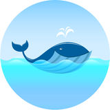 Whale in ocean - vector. EPS 10 file royalty free illustration