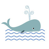 Whale and ocean waves. Vector illustration of cartoon whale and ocean waves Royalty Free Stock Photos