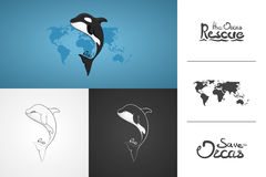 Whale Orca. Concept vector hand drawn illustration, logo. Design of simple icon with text. Sketch art. Flat design. Lettering. Inf Stock Images