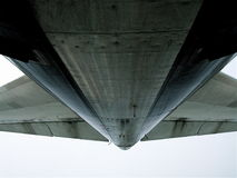 Whale\'s Tail. 747-400 tail section during preflight inspection Stock Photo