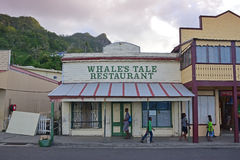 Whale`s Tale restaurant in Levuka, Fiji. This is the most popular and visited restaurant for dinner in the town of Levuka offering European and Fijian cuisine in Stock Photography