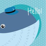 Whale Cute animal cartoon. Whale Saying hello cartoon vector illustration graphic design Royalty Free Stock Photography