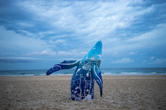 Whale sculpture on the beach. A blue colored whale sculpture on display during the 2015 Swell Sculpture Festival held in Currumbin in Australia royalty free stock photography