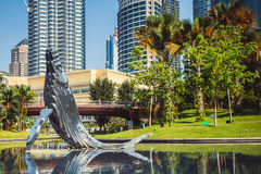Whale sculpture at the city park near twin towers, in Kuala Lumpur. Malaysia Stock Photography