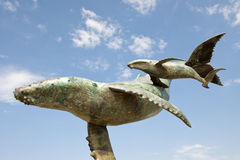 Whale sculptures. A set of bronze whale sculptures in Puerto Vallarta, Mexico royalty free stock photos