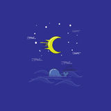 Whale in the sea landscape at the night vector Stock Photo
