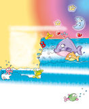 Whale in the sea with moon space to write poems comic humorist design Stock Photography