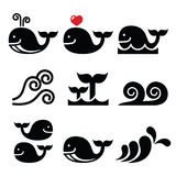 Whale, sea or ocean waves icons set. Vector icons set isolated on white - wildlife Stock Image
