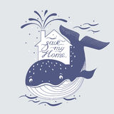 Whale and sea rotection, preservation symbol. Whale and sea, ocean protection, preservation symbol.  Vector illustration in eps8 format Royalty Free Stock Photos