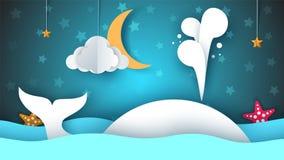 Whale, sea, star, sky, moon - paper cartoon illustration. Whale, sea, star, sky moon - paper cartoon illustration Vector eps 10 Stock Photo