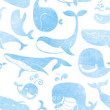 Whale. Seamless pattern. Water color background. Seamless patter