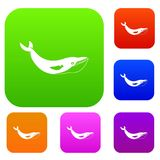 Whale set color collection. Whale set icon color in flat style isolated on white. Collection sings vector illustration Stock Photo