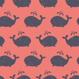 Whale shapes seamless vector kids pattern. Cute background with distressed blue whale silhouettes on red. Baby shower design stock images