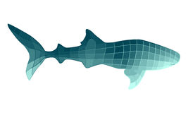 Whale shark stylized in quadrangular shapes. Stylized whale shark illustration with geometric shapes colored in shades of turquoise. Gradient polygon style sea Royalty Free Stock Image