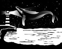 Whale in the sky over the sea black white vector. Stock Photography