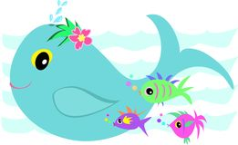 Whale Splash with Fish Friends Stock Image