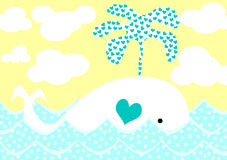 Whale splashing hearts valentines day card Royalty Free Stock Photography