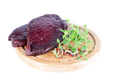 Whale steak. Raw whale meat ready for cooking Royalty Free Stock Photography