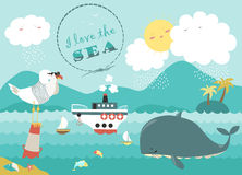 Whale,steamship and seagull in blue sea Stock Photo