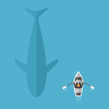Whale swimming near boat. Man in boat floats near big whale in blue ocean. Danger, risk and contrasts concept. Flat design. Vector illustration. EPS 8, no Stock Image