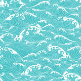 Whale swimming in the ocean waves, pattern seamless background  Royalty Free Stock Photography