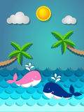 Whale swimming in the sea and coconut tree on the beach with the. Pink and blue whale swimming in the sea and coconut tree on the beach with the sun for summer Royalty Free Stock Image